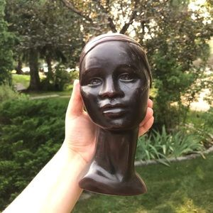 Vintage bust head figural candle candle